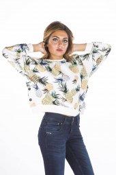 Baskılı Desenli Krem Kadın Sweatshirt
