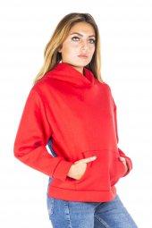 Kapüşonlu Kırmızı Kadın Sweatshirt