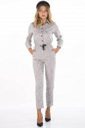 Düğmeli Beli Lastikli Gri Kadın Tulum Pantolon