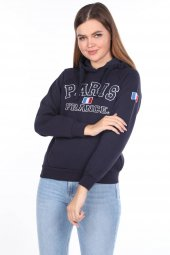 Paris France Aplikeli İçi Polarlı Kapüşonlu Sweatshirt