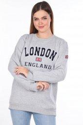 London England Aplikeli İçi Polarlı Sweatshirt