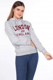 London England Aplikeli İçi Polarlı Kapüşonlu Sweatshirt
