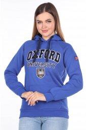 Oxford University Aplikeli İçi Polarlı Kapüşonlu Sweatshirt