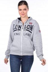 London England Aplikeli İçi Polarlı Kapüşonlu Fermuarlı Sweatshirt