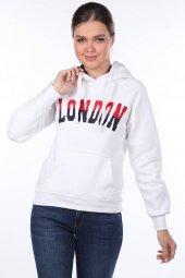 London Aplikeli İçi Polarlı Kapüşonlu Sweatshirt