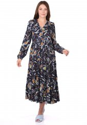 Fırfırlı Uzun Kollu Desenli Elbise