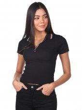 Markapia Fermuarlı Polo Yaka Kadın T-Shirt