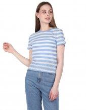 Markapia Çizgili Mavi Kadın T-Shirt