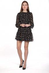 Markapia Siyah Desenli Şifon Elbise