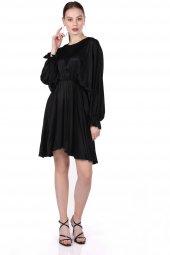 Markapia Volanlı Siyah Elbise