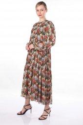 Markapia Çok Renkli Çiçek Desenli Tül Elbise