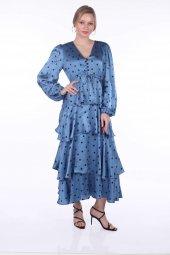 Markapia Volanlı Saten Puantiye Desenli Elbise