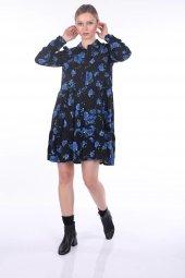 Markapia Mavi Çiçek Desenli Elbise