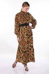 Markapia Desenli Dik Yaka Elbise