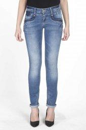 Blue White Fermuar Detaylı Kadın Jean Pantolon