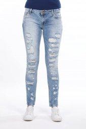 Blue White Yırtık Açık Kadın Jean Pantolon