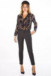 Desenli Siyah Kadın Bluz