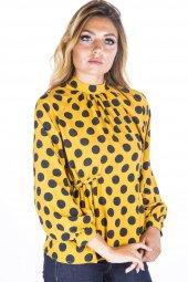 Puantiyeli Sarı Siyah Kadın Bluz