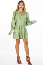V Yaka Uzun Kollu Yeşil Düz Elbise