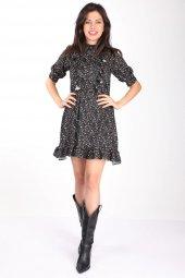 Markapia Fırfır Detaylı Desenli Elbise