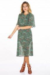 Kısa Kollu Desenli Yeşil Şifon Elbise