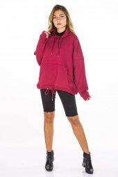Kapüşonlu Bordo Kadın Sweatshirt