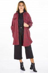 Kazayağı Desenli Bordo Kadın Ceket