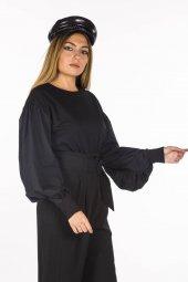 Balon Kol Siyah Kadın Sweatshirt