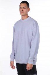 Oversize Düz Lila Erkek Sweatshirt