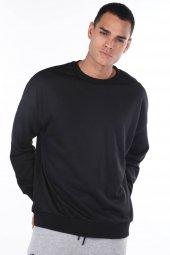 Oversize Düz Siyah Erkek Sweatshirt