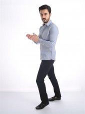 Uzun Kollu Erkek Gri Düz Gömlek