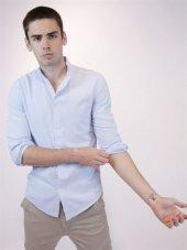 Uzun Kollu Erkek Mavi Düz Gömlek