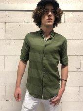 Uzun Kollu Erkek Nefti Çizgili Gömlek