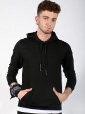 Kanguru Cepli Kapüşonlu Siyah Erkek Sweatshirt
