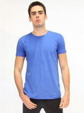 Bisiklet Yaka İndigo Erkek Basic T-shirt