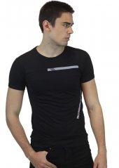 Bisiklet Yaka Siyah Baskılı Erkek T-shirt
