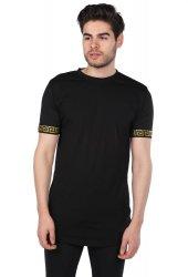 Loyal Kol Detaylı Siyah Erkek Bisiklet Yaka T-Shirt