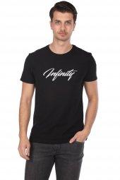 Infınıty Baskılı Erkek Siyah Bisiklet Yaka T-Shirt
