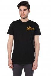 Silence Yazılı Siyah Erkek Bisiklet Yaka T-Shirt