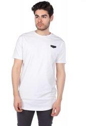 Arma Detaylı Erkek Beyaz Bisiklet Yaka T-Shirt