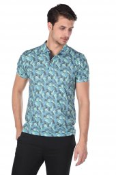 Erkek Mavi Desenli Polo Yaka T-Shirt