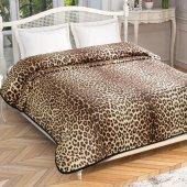 Taç Leopard Çift Kişilik Battaniye Kahve 220*240