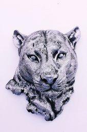 Dekoratif Aslan Kafası Gümüş Biblo 21 cm