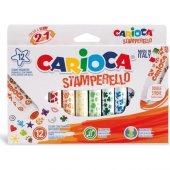 Carioca Stamperello Yıkanabilir Keçeli Boya Kalemi 12li (Bir Ucu Keçeli Kalem Bir Ucu Damga)