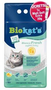 Biokats Bianco Fresh Kedi Kumu 10 Lt + Malt Soft Extra 20 gr