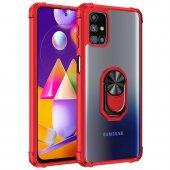 KNY Samsung Galaxy M31S Kılıf Renkli Silikon Kenarlı Yüzüklü Manyetik Mola Kapak Kırmızı
