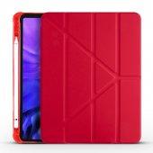 KNY Apple İpad 12.9 2020 İçin Kalemlikli Standlı Arkası Silikon Trifolding Kılıf Kırmızı