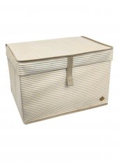 Kapaklı Kutu Hurç - Çok Amaçlı ( Çamaşır-Saklama-Düzenleme vb) Hurç, Kutu - 40x30x26 - Mini Boy Çizgili Kutu - Kahverengi