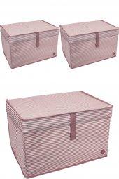 3 Adet - Kapaklı Çok Amaçlı ( Çamaşır-Saklama-Düzenleme vb) Hurç, Kutu - 40x30x26 - Mini  - Pembe