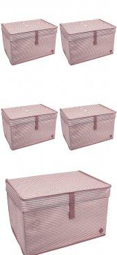 5 ADET - Kapaklı Çok Amaçlı ( Çamaşır-Saklama-Düzenleme vb) Hurç, Kutu - 40x30x26 - Mini Kutu - Pembe